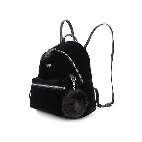 24e29df837 Guess Handbags - Guess black velvet backpack